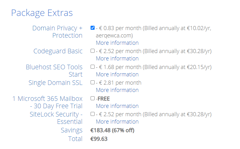 package extra bluehost